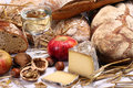 Bread, wine, cheese Stock Image