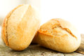 Bread on wooden table close up round loafs Royalty Free Stock Images