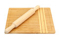 Breadboard and rolling pin isolated on a white background Stock Photo