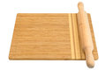 Breadboard and rolling pin isolated on a white background Stock Photos