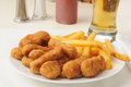 Breaded chicken and beer Royalty Free Stock Images