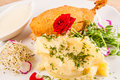 Breaded chicken breast served with mashed potato Royalty Free Stock Photo