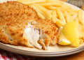 Breaded fish fillet fries haddock fillets with crispy Stock Photography