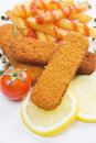 Breaded fish sticks Stock Images