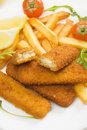 Breaded fish sticks with french fries Royalty Free Stock Images