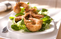 Breaded prawns fry with lamb lettuce Stock Photography