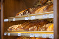 Breads displayed in display cabinet variety of bakery Royalty Free Stock Photo