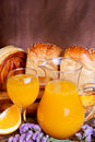 Breads and juice Stock Photography