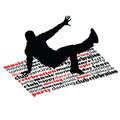 Break dance man on word vector illustration Royalty Free Stock Photo