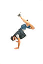 Break dancer with legs in the air cool standing hands isolated on white background Stock Photos