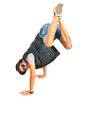 Break dancer with legs in the air isolated on white background Royalty Free Stock Photography