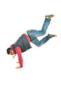 Break dancer man in action isolated on white background Stock Photography