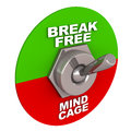 Break free breaking of mind cage switch flipped towards option of in green away from mind cage option in red white background Stock Photos