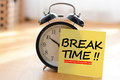 Break time concept with classic alarm clock Royalty Free Stock Photo