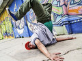 Breakdancer in a dancing pose Royalty Free Stock Photo