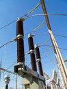 Breaker kv high voltage circuit located in substation switchgear yard Royalty Free Stock Image
