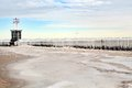 Breaker wall covered in ice for lake michigan at north avenue beach iced over winter chicago illinois Stock Image
