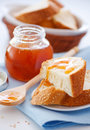 Breakfast with apricot jam Royalty Free Stock Photography