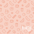 Breakfast Background. Seamless Pattern With Line Icons of Food Like Sausage, Bread, Croissant, Bacon, Muffins, Coffee, Milk etc.