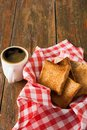 Breakfast background, toast and coffee on rustic wood Royalty Free Stock Photo