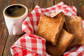 Breakfast background, toast and coffee on rustic wood