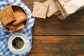 Breakfast background, toast and coffee on rustic wood, top view Royalty Free Stock Photo