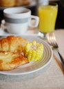 Breakfast with bacon bread corn orange juice and coffee Royalty Free Stock Photography