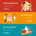 Breakfast banners set horizontal with homemade and healthy symbols flat vector illustration Stock Images