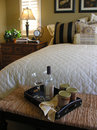Breakfast in Bed (Focus on Food Tray) Royalty Free Stock Photography