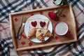 Breakfast in bed romantic surprise, toasts with Royalty Free Stock Photo