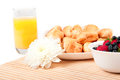Breakfast with berries,orange juice and croissant Royalty Free Stock Photos
