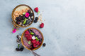 Breakfast berry smoothie bowl topped with berries Royalty Free Stock Photo