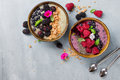 Breakfast berry smoothie bowl topped with berries, Royalty Free Stock Photo