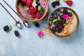 Breakfast berry smoothie bowl topped with berry Royalty Free Stock Photo