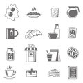 Breakfast black white icons set with croissants tea and jam flat isolated vector illustration Royalty Free Stock Photo