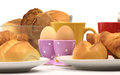 Breakfast bread egg with roll eggs and coffee Royalty Free Stock Image