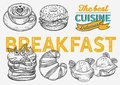 Breakfast and brunch food illustration - bagel, coffee, pancake, egg Royalty Free Stock Photo