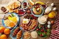 Breakfast buffet full continental and english Royalty Free Stock Photo