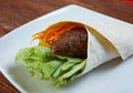 Breakfast burritos made with beef rissole and vegetables Stock Photography