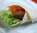 Breakfast burritos made with beef rissole and vegetables Stock Images