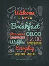 Breakfast cafe menu design typography on chalk board vector illustration Royalty Free Stock Photos