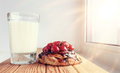 Breakfast Cake milk window Royalty Free Stock Photo