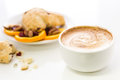 Breakfast cappuccino with fresh cranberry orange scone for Stock Photo