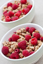 Breakfast cereal with fresh raspberries Stock Photo