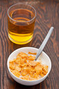 Breakfast cereal with milk and apple juice Royalty Free Stock Images