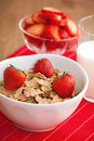 Breakfast cereal, milk and strawberries Stock Photo
