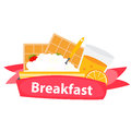 Breakfast Cereal Oatmeal and Orange Juice, Icon in Modern Flat Royalty Free Stock Photo