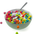 Breakfast cereal render of a cup with colorful cereals Stock Images