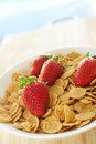 Breakfast cereal with strawberries Royalty Free Stock Photo