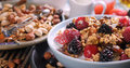 Breakfast of cereals with berries and dry fruits Royalty Free Stock Photo